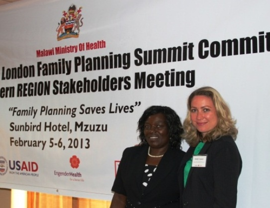 Dorothy Nyasulu and Holly Connor of EngenderHealth/The RESPOND Project at a regional family planning stakeholders meeting in Malawi in February 2013.